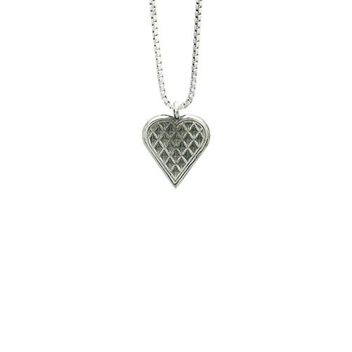 vaffelhjerte smykke sølv