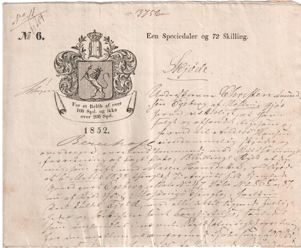 Stemplet papir frå 1852